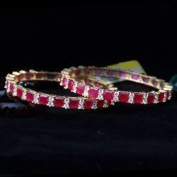 Vivah Creation Ruby American Diamond Bangles