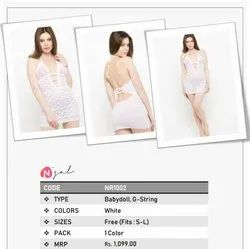 Deep Neck Floral Lace White Net Babydoll Dress Nightwear with G-String, Occasion: Party