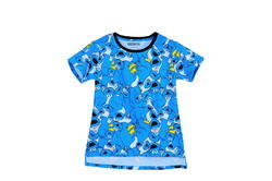 Multicolor Women's T Shirt / Tees With Cookie Monster Print And Raw Edge
