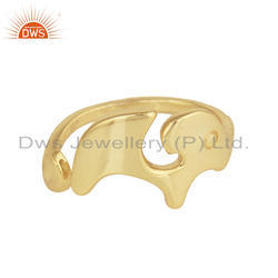 18K Gold Plated 925 Silver Enchanting Elephant Design Ring Jewelry