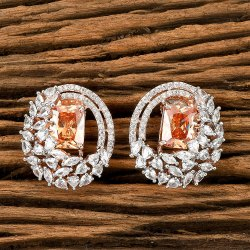 CZ Rose Gold Plated Tops Earrings 405493, Size: Height = 25 mm Width = 21 mm
