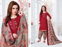 Cotton Ganesha Patiyala Readymade Dress Material