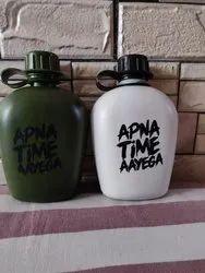 Military Green / White Plastic Water Bottles