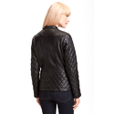 Women's Black Quilted Leather Jacket With Brown Detailing