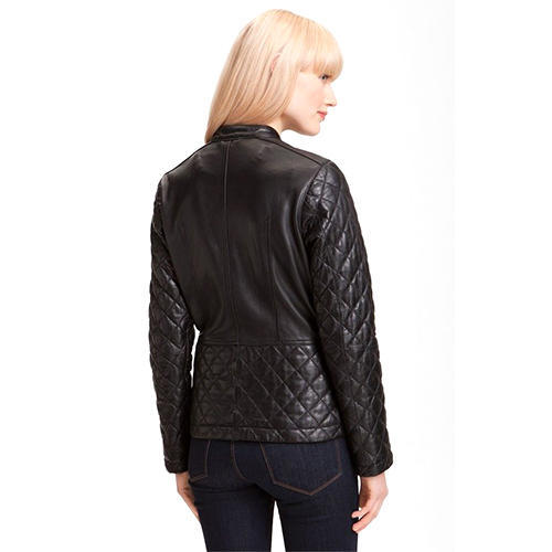 cc8d37ca3562 Women's Black Quilted Leather Jacket With Brown Detailing at Rs 7499 ...