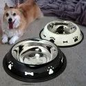 Pet Bowl Stainless Steel Cat Food Water Bowl with Non-Slip Rubber Base