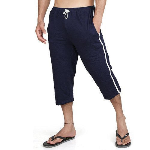 Blue Cotton Mens Capri