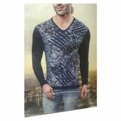 Cotton Mens 2071 V Neck Printed T-Shirt, Size: XL