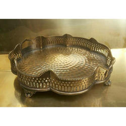 A.R.Handicraft Brass Antique Antique Brass Decorative Tray, Size: 33x33x8cms