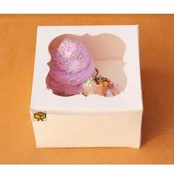 2 Cavity White Cloud Window Cupcake Box