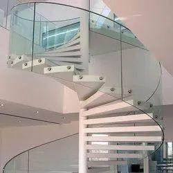Transparent Glass Stair Railing