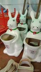FRP Animal Shape Rabbit Dustbin