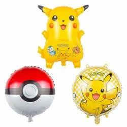 Pikachu Shape Foil Balloon Set Of 3 Pcs For Birthday And Parties