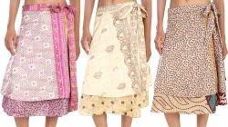 Vintage Art Silk Magic Wrap Skirts