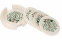 White Marble With Heavy Design Coaster Set