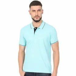 Mens Collar Neck Aqua Blue Polo T Shirts