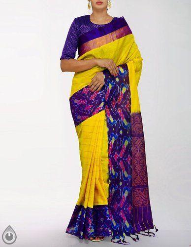 b3d71cee36 Unnati Silks 6.05 MTR (Inclusive of Blouse) Handloom Pochampally Ikat  Kuppadam Silk Cotton Pattu