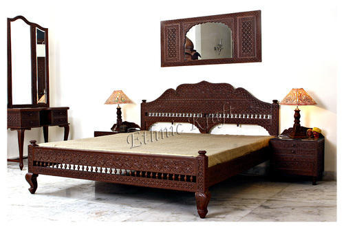 Carved teakwood bedroom furniture wooden carved bed