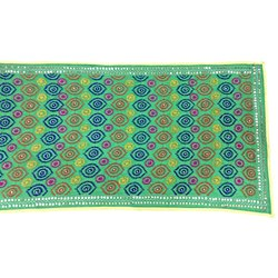 All Over Parrot Green Color Katha Work Cotton Bandhani Dupatta
