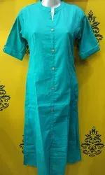 Casual A-Line Plain Cotton Slub Kurti