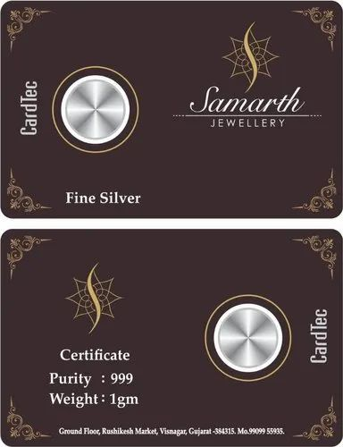 3 Cut Colors Silver Coin Card Packing, Size: 85x54 Mm