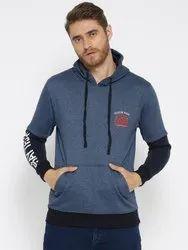 Printed Gray Hooded Men Fleece Sweatshirt, Size: S to XL