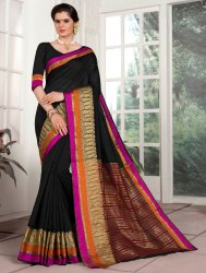 Black Border Designed Cotton Silk Saree,6.3 M
