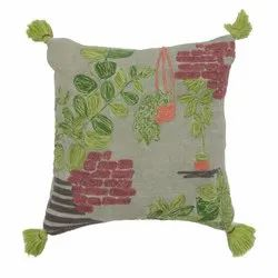 Embroidery and Tassel Accented Square Cotton Cushion Cover