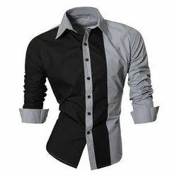 Grey And Black Cotton Mens Fashion Shirt