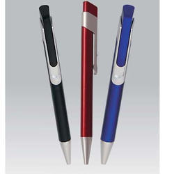 Maroon And Black Double Clip Plastic Pen