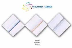 Two Side Satin White Border Handkerchief