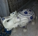 Natural White Marble Inlay Elephant