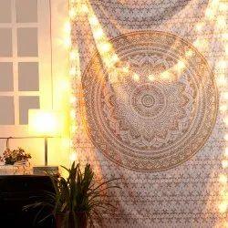 Gold Mandala White Base Double & Single Tapestry