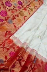 Lotus Border Banarasi Silk Saree