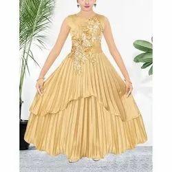 Festive Wear Assorted Girls Sleeveless Designer Long Frock, Size: 24-38, Age Group: 9-12 Years
