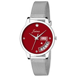 Jainx Day and Date Red Dial Analog Shaffer Chain Watch for Women & Girls JW599
