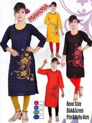 Rayon Straight Block and Screen Kantha Work Kurti