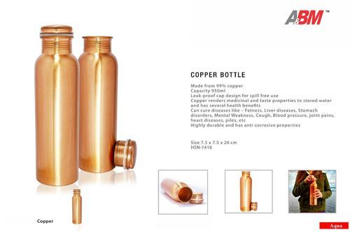 Sipper And Flask Bottle Copper Bottle Manufacturer From