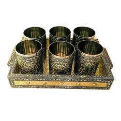 Handicraft Tray With Glass Set, Size: 10x7 Inch