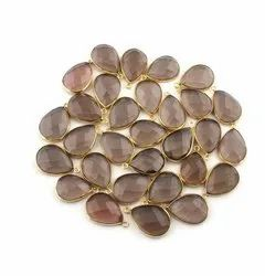 Actual Pear Shape Smoky Quartz Gold Plated Gemstone Connectors