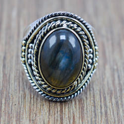 LABRADORITE GEMSTONE 925 STERLING SILVER AND BRASS JEWELRY ADJUSTABLE RING WR-5827
