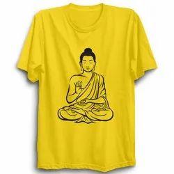 Printed 12-70 Yellow Cotton Round Neck T-Shirts, Size: XL