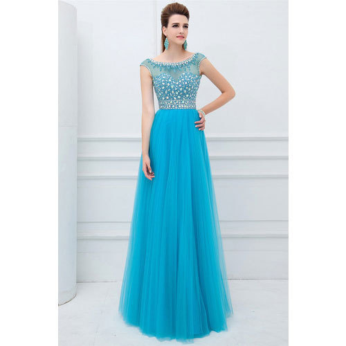 36991f586bf Tulle Fabric Party Wear Georgette Maxi Gowns