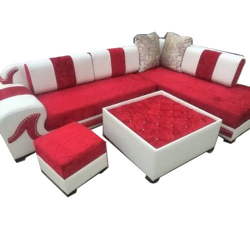 Red And White L Shaped Sofa Set Rs 3200 Feet Singla Furniture