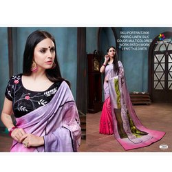 Rachna Linen Silk Patch Work Portrait Catalog Saree For Women 6