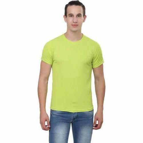 9a5815850 Trendy Trotters Men Cotton Round Neck Light Green Plain T-Shirt, Size: XXL