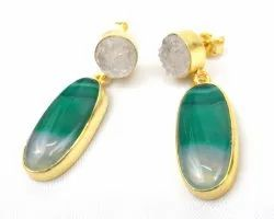 Blue Agate and White  Druzy  Gemstone Stud Earring with Gold Plated