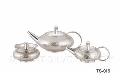 Pure Silver Hammered Tea Set