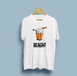 Ruby fabrics Polyester Chai And Smoke Breakfast T-Shirt, Age Group: 18-40