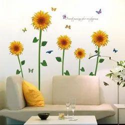 Sun Flower Pattern Garden Sun Flower Wall Decor Sun Flower Sticker 60x90, Size/dimension: 60 X 90 , pack Size: 26, 5